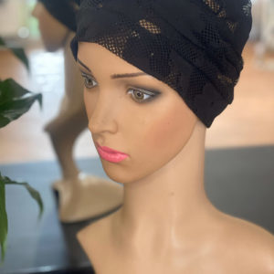 Black Flower Mesh Print Cap