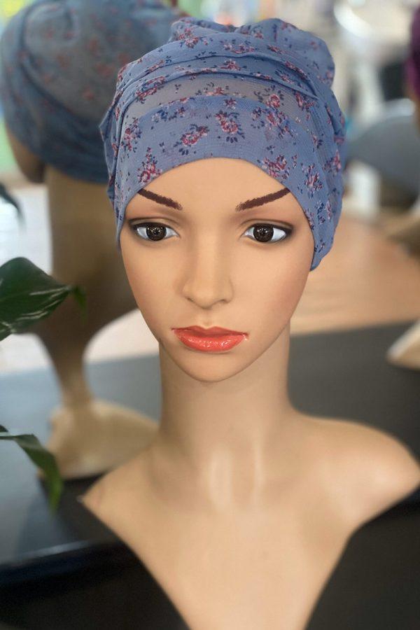 Blue Floral Cap